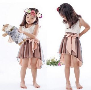 Baby Girl Toddlers Wedding Belt Bow Tutu Princess Formal Dress 2 7Y Pink Clothes