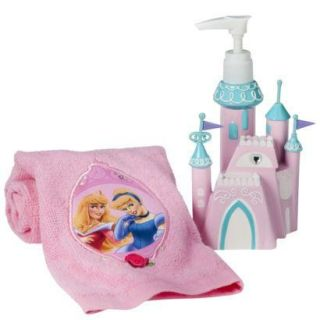 Disney Princess Girls Kids Bath Lotion Soap Pump Finger Tip Towel Gift Set New