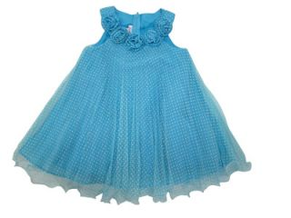 Jessica Ann Baby Girls Turquoise Polka Dot Dress Size 18 Months
