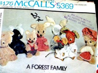Fab Vtg Stuffd Animals Skunk Mouse Squirrel Rabbit Toys Clot Sewing Pattern 5369