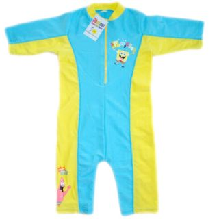 1 10 Years Infant Toddler Kids Boys Spongebob One Piece Swimsuit Swimwear SB101