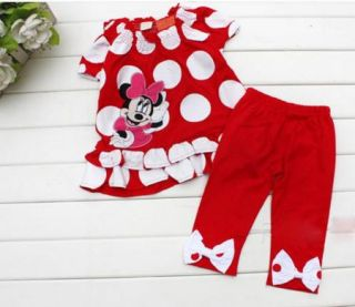 Girls Minnie Mouse Clothes Baby Top Dress Pants Legging Set 6 18M Summer Outfit