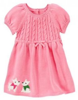 Gymboree Baby Girl Westie Puppy Sweater Dress Cozy Pink Size 12M Holiday Bow