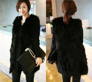 Fashion Women Winter Warm Black Faux Fur Long Vest Jacket Coat Outwear Belt Hot