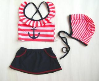 Girl Swimwear Tankini Swimsuit Costume Bikini Bathers 1 2Y Toddler Sailor Skirt