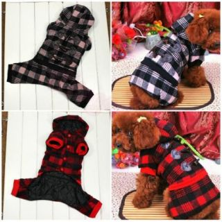 Pet Dog Cat Apparel Clothes Warm Coat Puppy Plaid Hoodie Winter Costume Dress
