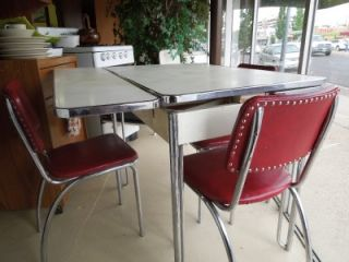 Vintage Retro Howell Kitchen Set Circa 1940 50s White Table Red Chrome Chairs