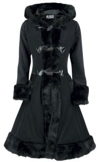 Poizen Industries Ladies Black Minx Coat Gothic Winter Jacket Warm Faux Fur Cosy
