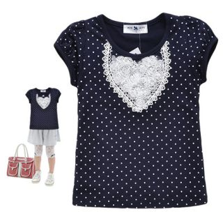 1 7 yrs Navy Blue Kids Girls Dots Print Flowers Lace Short Sleeve Tee Tops M3251