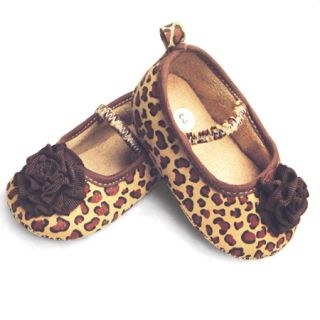 0 12M Infant Baby Girls Leopard Print Flowers Mary Jane Dress Shoes SA501