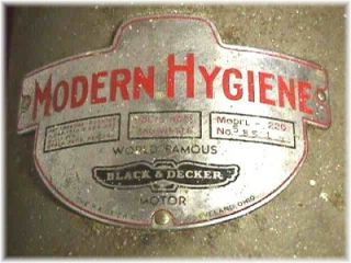 Antique Modern Hygiene Pageier Co Cleveland Ohio Black Decker Motor Model 220