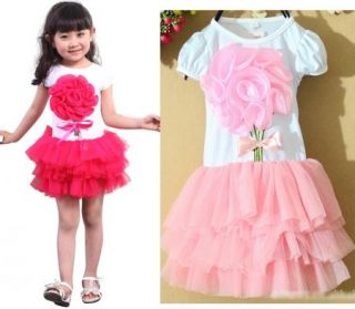 Baby Girl Dress Tutu Pink Rose Red Dancing Party Kids Clothes Sz 9 15 YAZ01