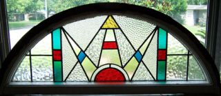 Large Arched Antique Stained Glass Window Deco Sunburst