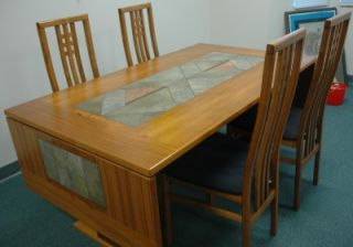 Mid Century Teak Dining Table w Tile Leaves 4 Chairs
