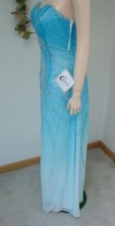 $255 Beaded Aqua Ombre Silk Formal Dress Gown 16