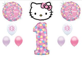 Hello Kitty Girl First 1st Birthday Ballloons Decorations Supplies Pink Twins