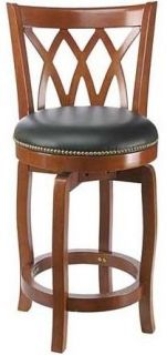Traditional Wood Swivel Counter Stool w Curved Back Upholstered Seat 40224