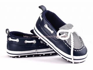 Toddler Baby Boy Navy Boat Shoes Crib Sneaker Size 0 6 6 12 12 18 Months