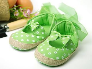 A61 New Toddler Baby Girl Green Ribbon Shoes Size 3