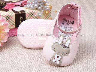 New Toddler Baby Girl Pink Cute Rabbit Mary Jane Shoes Size 2 A907