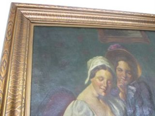 19th Century Huge Original Signed Framed Oil Painting of 3 Women Kid and Baby