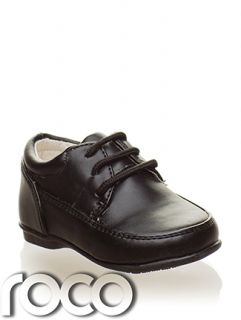 Baby Boys Black Matt Lace Up Christening Wedding Formal Pageboy Shoe Infant 1 6