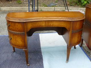 Antique Art Deco Satinwood Oak French Louis XV XVI Kneehole Vanity Desk