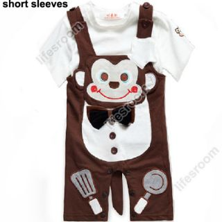Baby Kids Toddler Boys Monkey Onesie Bodysuit Romper Jumpsuit Coverall One Piece
