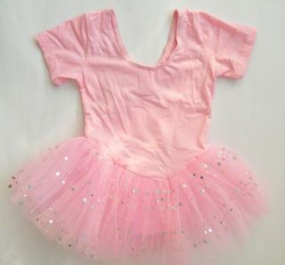 Girl New Pink Short Sleeve Leotard Ballet Tutu Party Dance Fairy Dress 4 8Y