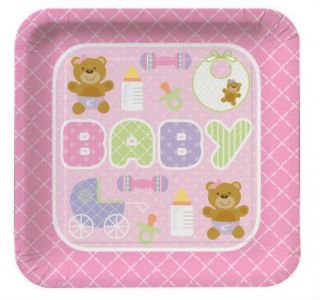 "New Born Baby Shower Party Tableware Teddy Bear Pink 9"" Paper Plates 8 Pack"