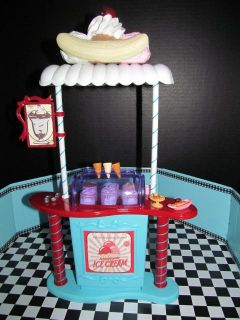 Barbie OOAK Custom Ice Cream Shop Diorama Model Muse Steffi Basic Furniture Lot