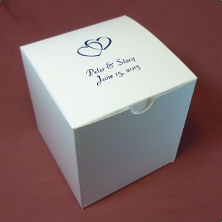Personalized White Wedding Favor Cupcake Cookie Candy Boxes 4x4x4 100 Pcs