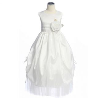 Sweet Kids Girl White Gathered Satin Communion Dress 8