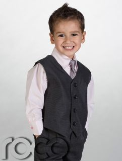 Boys Charcoal Waistcoat Suit Baby Boys Grey Suits Boys Wedding Suits Page Boy