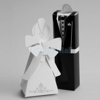 2X Pair Tuxedo Dress Gown Gift Box Wedding Party Favors Boxes Candy Supply Decor