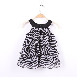 1 5 Year Toddler Kid Girl Baby Zebra Chiffon Mini Cake Dress Outfit Clothes