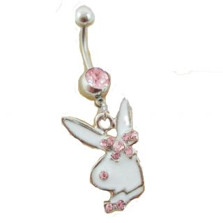 Playboy SS Belly Navel Ring Dangle 14gauge New