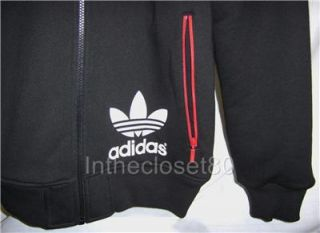 New Adidas Linear Sherpa Zip Through Mens Hoody Jacket Sherpa Lined Black White