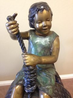 2 Children Playing on Tire Swing Bronze Garden Statue Sculpture Yard Art