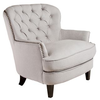 "New 34 6""H Spacious Light Beige Arm Chair Diamond Button Tufted Back Nailheads"