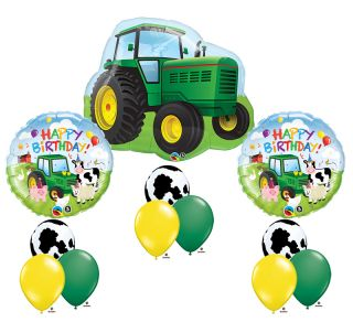 Toy Tractor John Deere Farm Animal Cow Happy Birthday Party Mylar Latex Set