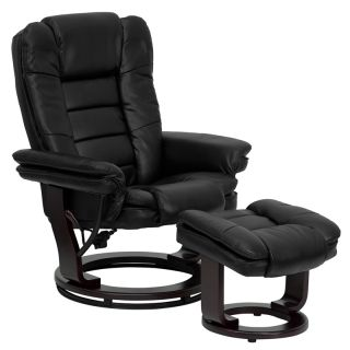 Contemporary Black Leather Recliner Chair and Ottoman with Swiveling Mahogany