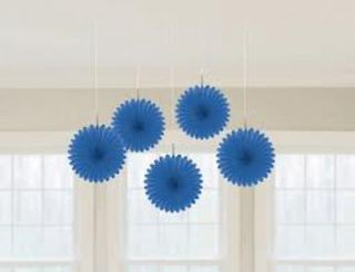 Hanging Tissue Ceiling Fans Pack 5 Royal Blue Wedding Party Decorations 15 2cm