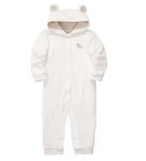 Carters Baby Girl Clothes Coverall White Velour Hood 3 6 9 12 18 24 Months