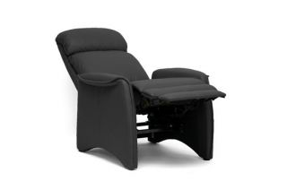 Black Modern Faux Leather Recliner Home Theater Seating Seat Club Chair Designer