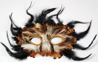 Deluxe Feather Eye Masks Owl Bird Black White Green Prom Masquerade Ball