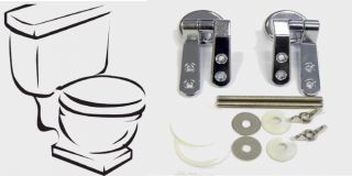 Pair Chrome Toilet Seat Hinge Fittings Fixings Pack ★ 2000 Quality Sets Sold