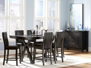 Camden 7pcs Modern Rectangular Counter Height Dining Room Table Chairs Pub Set