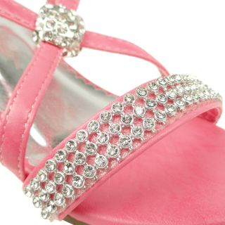 Girls x Strap Rhinestones High Heel Pink Sandals Pageant Toddler Youth Size 9 4