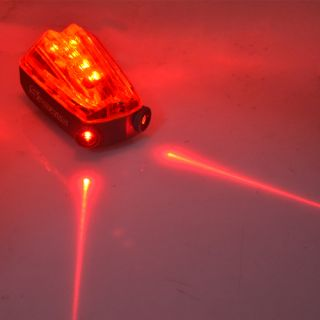 Bicycle Bike 5 LED Red Laser Beam Cycle Lights Safety Rear Tail Flash Light Lamp